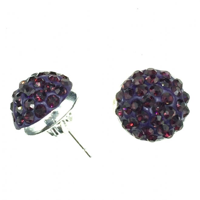 10mm Pave crystal stud earrings - purple crystals - silver
